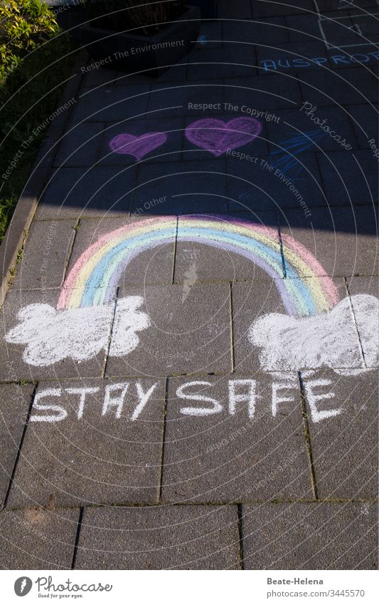 """Appeal to reason: rainbow painted with chalk and hearts """"Stay Safe Rainbow Happy Roll call painting Healthy Virus Spread Pandemic - disease Hope Heart Desire"""