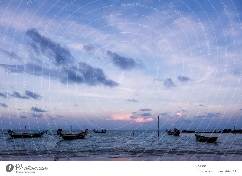 Sky Vacation & Travel Blue Summer Ocean Calm Clouds Beach Black Far-off places Pink Waves Idyll Island Beautiful weather Infinity