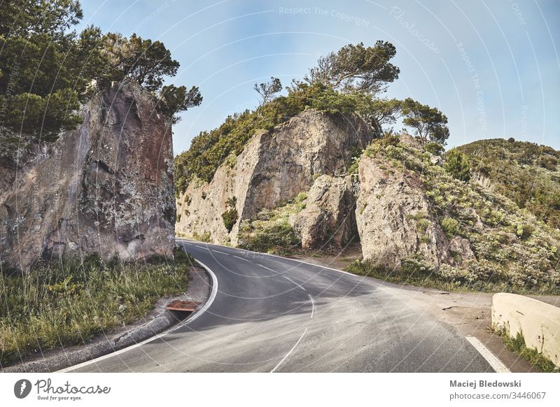 Scenic road in Anaga mountain range, Tenerife, Spain. scenic travel trip adventure landscape nature scenery Canary Islands view outdoor Europe drive vacation