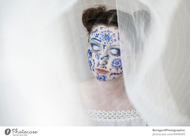 white blue make-up China Porcelain body paint face face painting relaxation Eyes Beautiful Make-up Portrait photograph Adults Fashion Human being Colour photo
