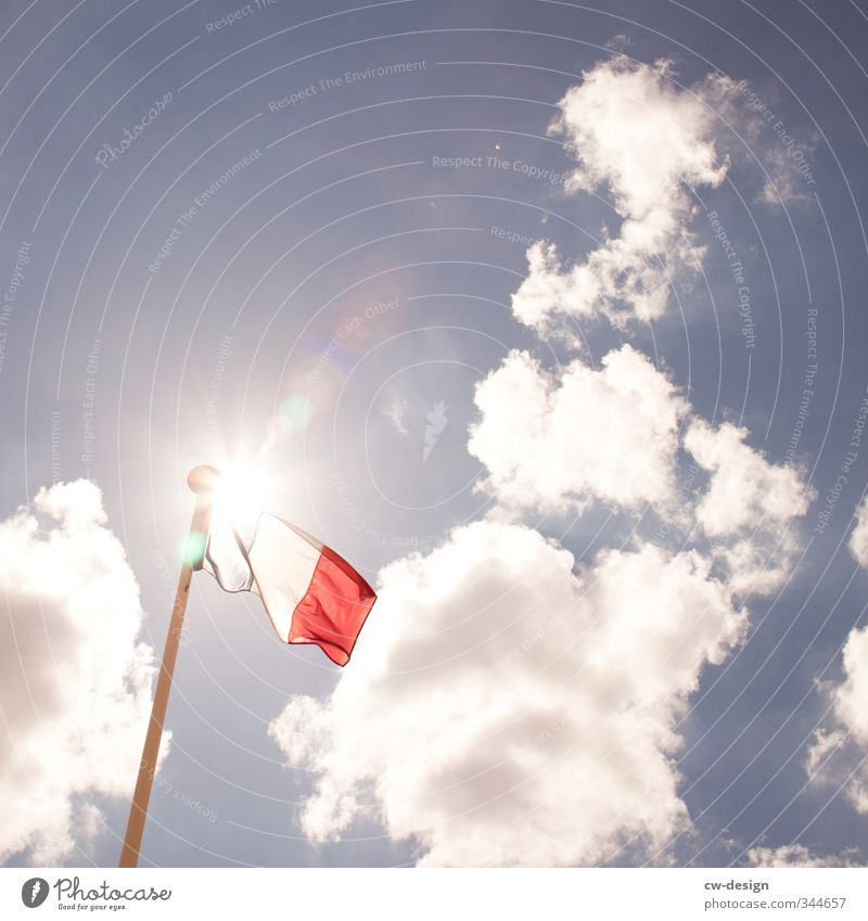TODAY: Foundation day of Andorra Sky Clouds Sun Sunlight Summer Beautiful weather Town Flag Vacation & Travel Blue Red White Longing Homesickness Wanderlust