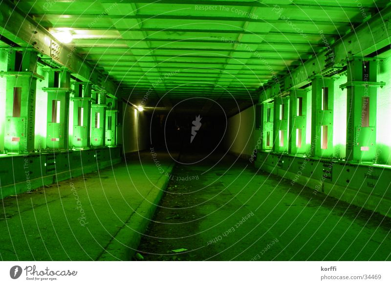 green tunnel Tunnel Light Long exposure Bridge Underpass railway. green