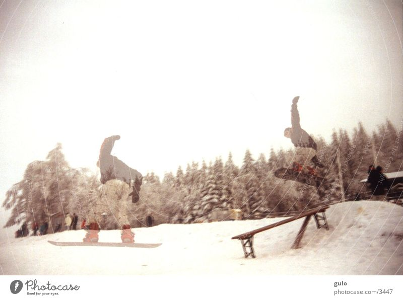 double exposure Snowboard Jump Double exposure Fog Sports Bench Ale bench Landing Posture Downward Brave Talented Winter Snowboarder Snowboarding Transparent