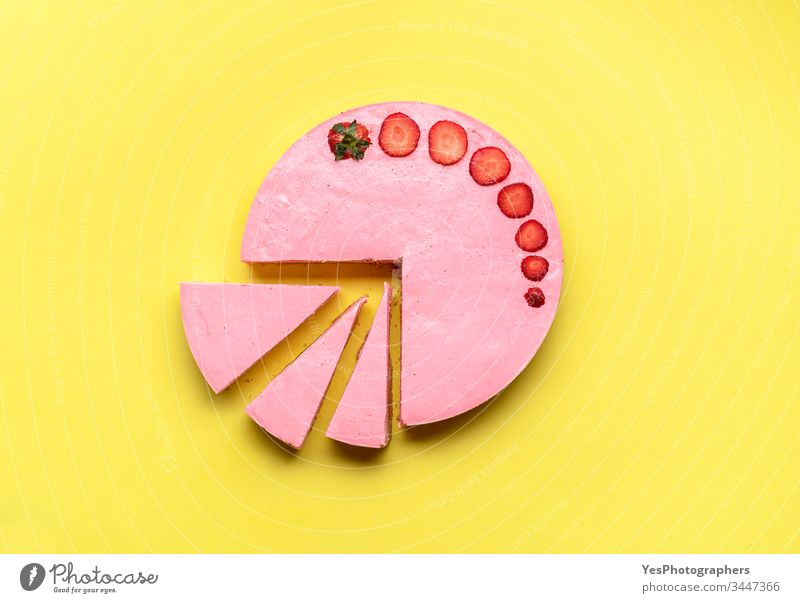 Sliced strawberry cheesecake pie.  Cheese cake with strawberries above view bakery cheese cake colorful creamy delicious dessert flat lay food freshness