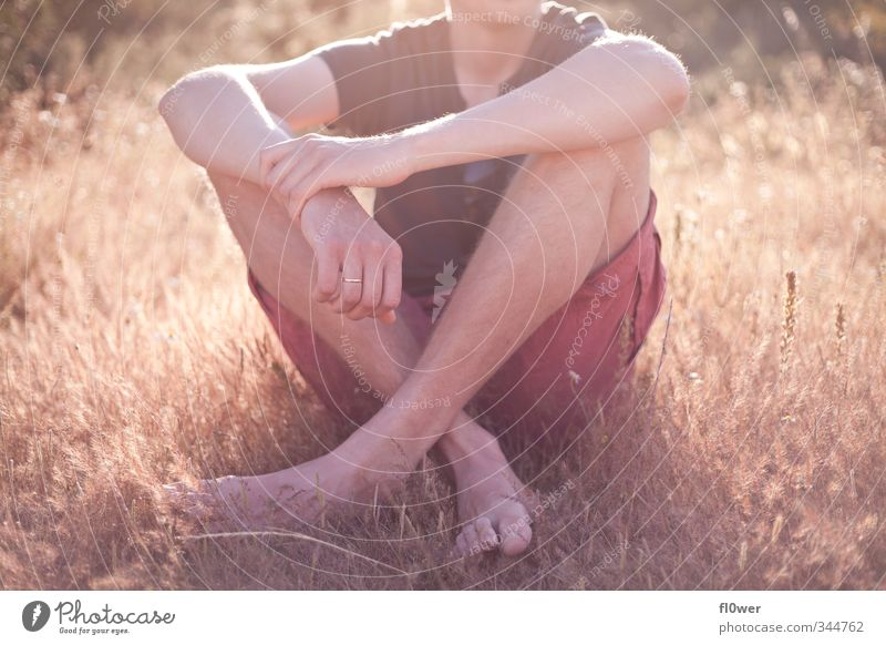 Human being Youth (Young adults) Summer Relaxation Young man Adults 18 - 30 years Yellow Love Grass Boy (child) Feet Body Gold Arm Sit