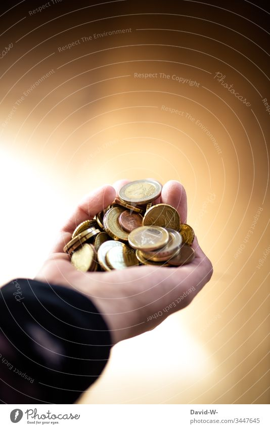 Hand with euro coins Holding money Money Euro Save Luxury Loose change Coin Paying Financial Industry Poverty Poverty threshold Shopping Economy Donation