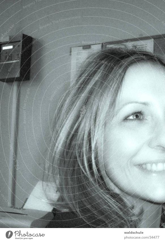 simones_laughing Woman Blonde Laughter Face Black & white photo Head Joy