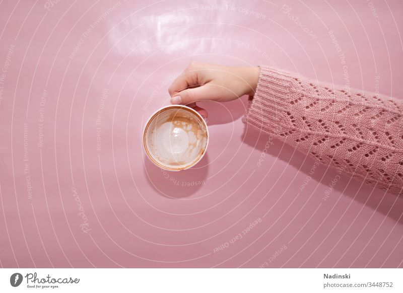 coffee break Coffee To have a coffee Coffee break Empty Vacancy on one's own void enjoyment Consumption Caffeine Addiction pink pastel Pastel tone Pink