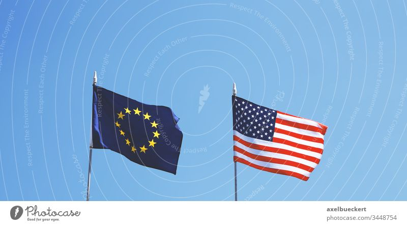 flags of Europe and United States of America next to each other europe usa united states america american european union banner alliance relationship friendship