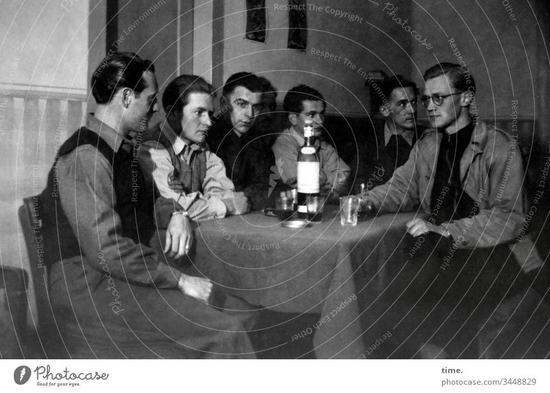 final lap Table Bottle men Holy Sacrament Short-haired interior decoration Sit look tranquillity B/W solemn melancholy Goodbye Discussion conference meeting