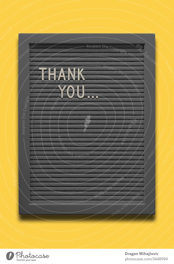 Black message board Thank you on the yellow background alphabet announcement art banner black border card clipboard concept decoration decorative design