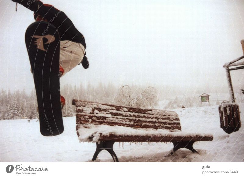 bench Jump Snowboard Fog Sports Bench Park bench Posture Snowboarder Snowboarding Ice Winter Style Freestyle Talented