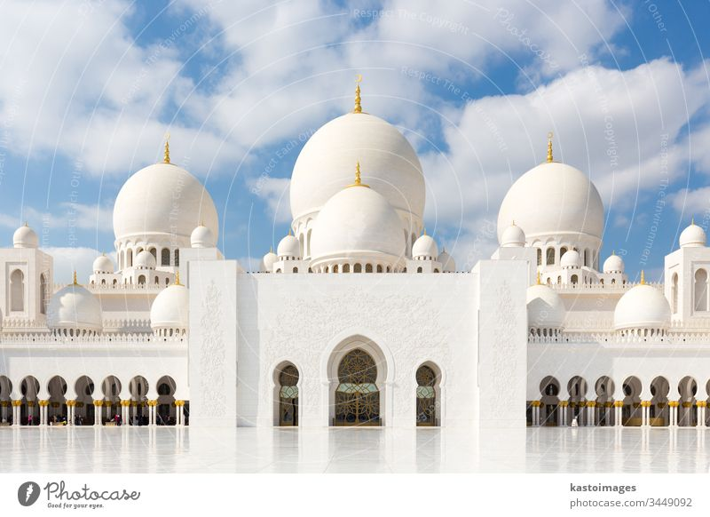 Sheikh Zayed Grand Mosque in Abu Dhabi, the capital city of United Arab Emirates abu dhabi mosque uae islam marble architecture dome minaret sky temple worship