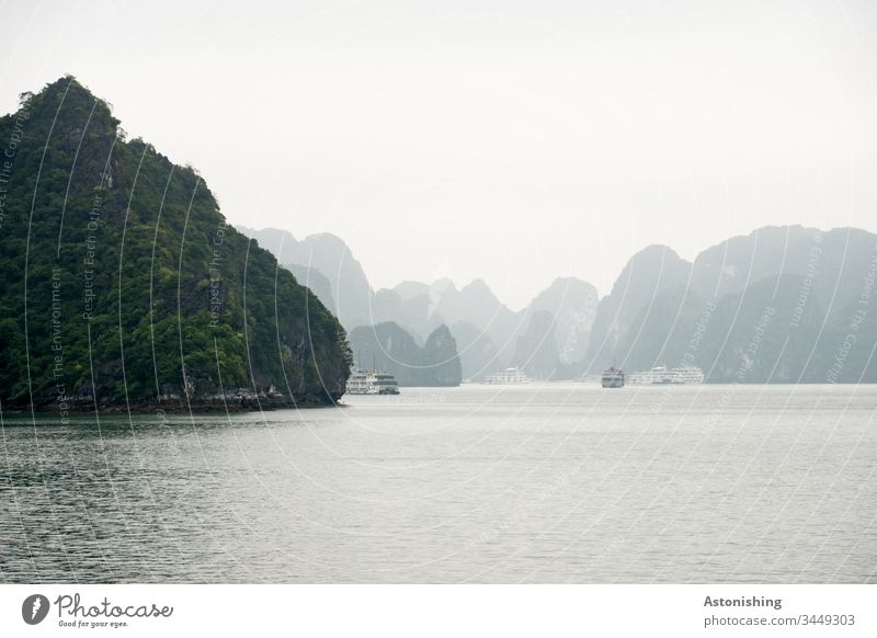 Rock in Halong Bay, Vietnam Ha Long ocean vacation voyage Shadow Exotic Fog Copy Space top Beautiful Light Weather Gray plants Vantage point Hard Steep