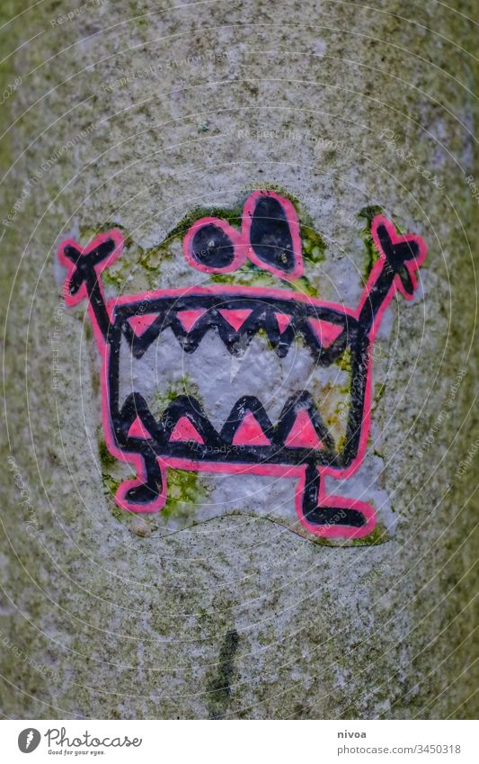 Monster Sticker Drawing sticker stickers Lamp post Teeth Colour photo Creepy Eyes Day Mouth Exterior shot Nose Scream 1 Evil Cute Human being Face Fear