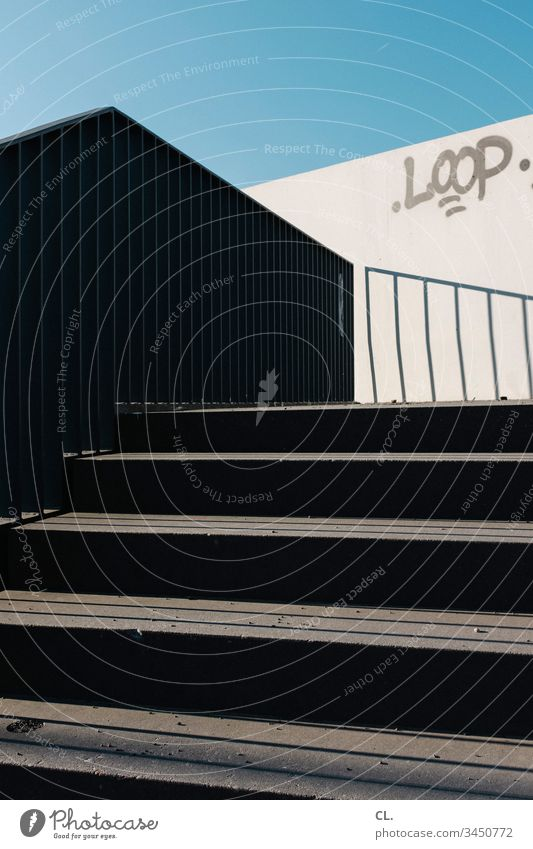 outside staircase Stairs External Staircase stagger Stage Sky Abstract Blue sky clear Shadow Sharp-edged loop writing Typography Graffiti Upward Handrail
