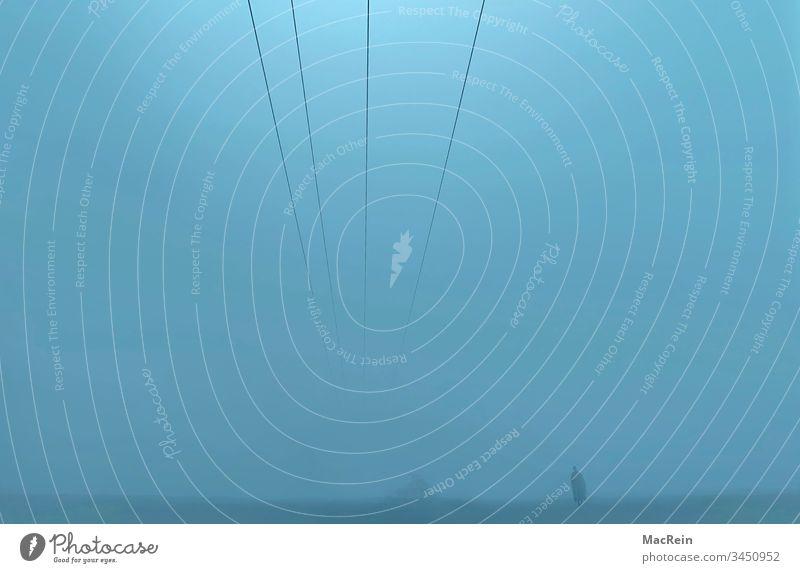 Man in the mist Fog Wall of fog Dark darkness grey-blue Blue by oneself off silent Calm depressing Landscape outside Copy Space power line dawn Dawn Dusk
