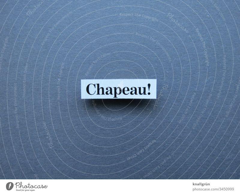 Chapeau! chapeau superb Bravo laud compliment hats off Word Letters (alphabet) leap Characters Typography Text Language Latin alphabet letter Communicate