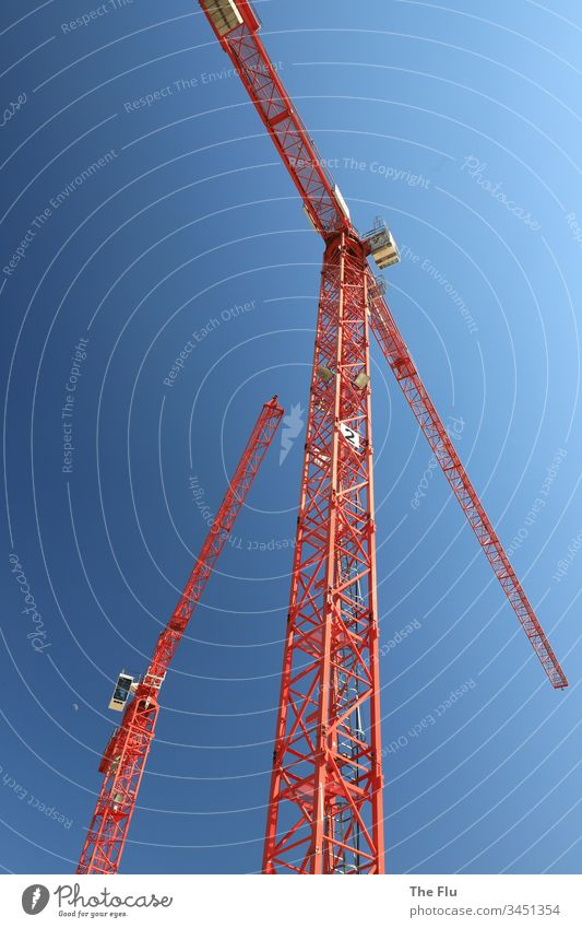 construction crane Construction crane construction industry Crane Construction site Sky Build Exterior shot Colour photo Blue Day Work and employment Industry