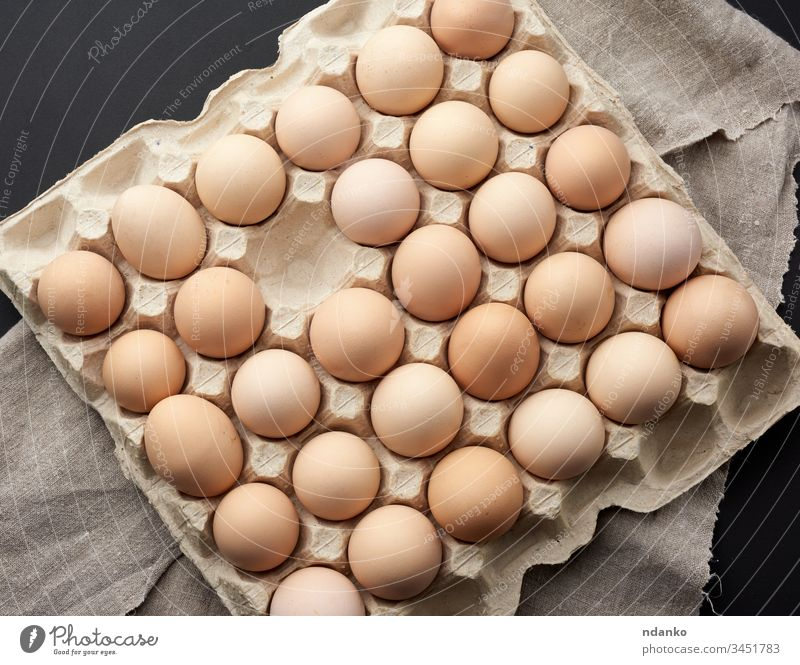 whole round raw brown homemade chicken eggs in a paper tray carton agriculture animal background bird breakfast case closeup color cuisine diet dinner domestic