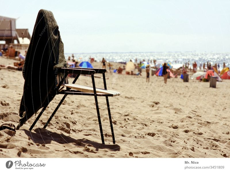 beach life Chair Beach Sand Vacation & Travel Beautiful weather Summer Sit Coast Ocean Relaxation Summer vacation Landscape Tourism Sky North Sea beach