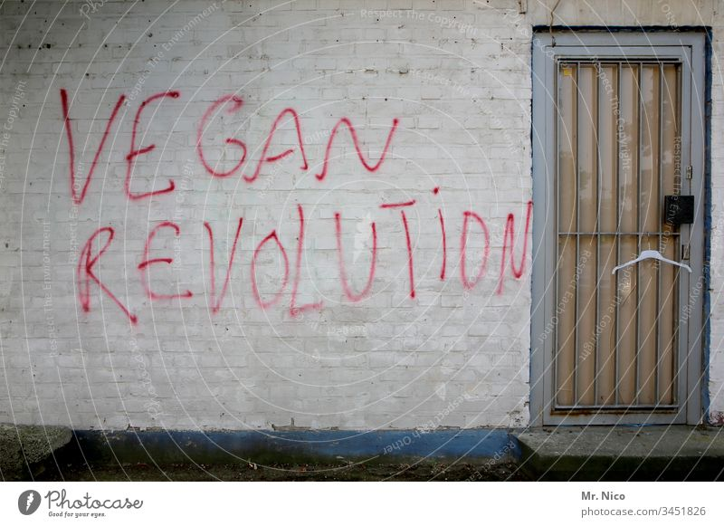 Vegan I Health I Revolution Healthy Vegan diet Nutrition Organic produce Graffiti door Wall (barrier) Red Daub Characters Eating Symbols and metaphors