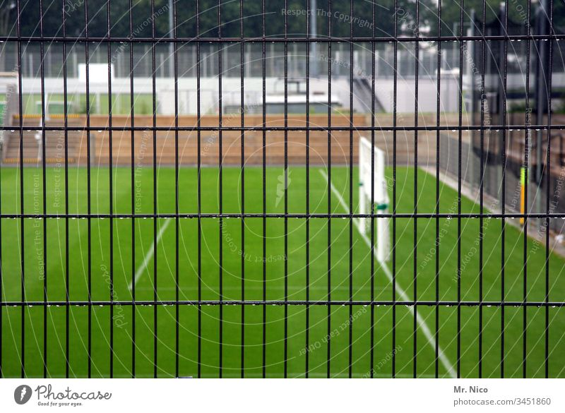 Game operation set Deserted Exterior shot Detail Sports Training Grass surface Penalty area National league Soccer Goal Green Sporting Complex Foot ball