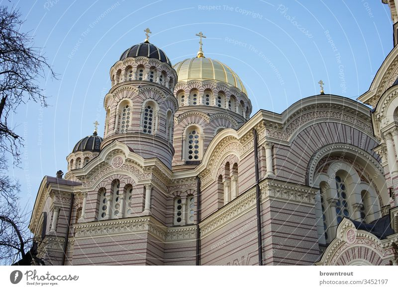Birth Cathedral of the Russian Orthodox Church in Riga cathedral of birth Orthodoxy Russian-orthodox Latvia Neo-Byzantine Domed roof Architecture Christianity