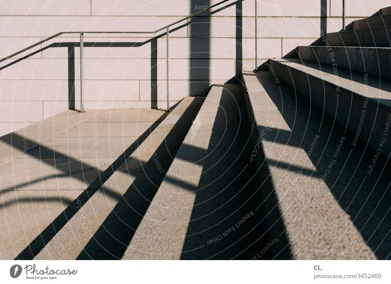 staircase Stairs Banister handrail Sharp-edged Concrete Stone Deserted Exterior shot Colour photo Day Architecture Wall (building) Wall (barrier) Subdued colour