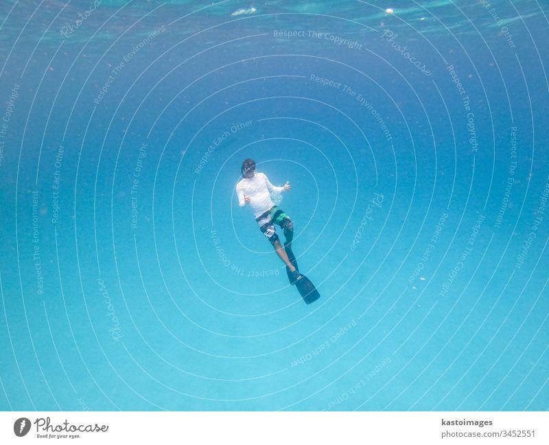 Underwater view of man free diving in blue ocean. freediver sea marine snorkeling scuba wild beautiful aquatic underwater free dive snorkling tropical nature