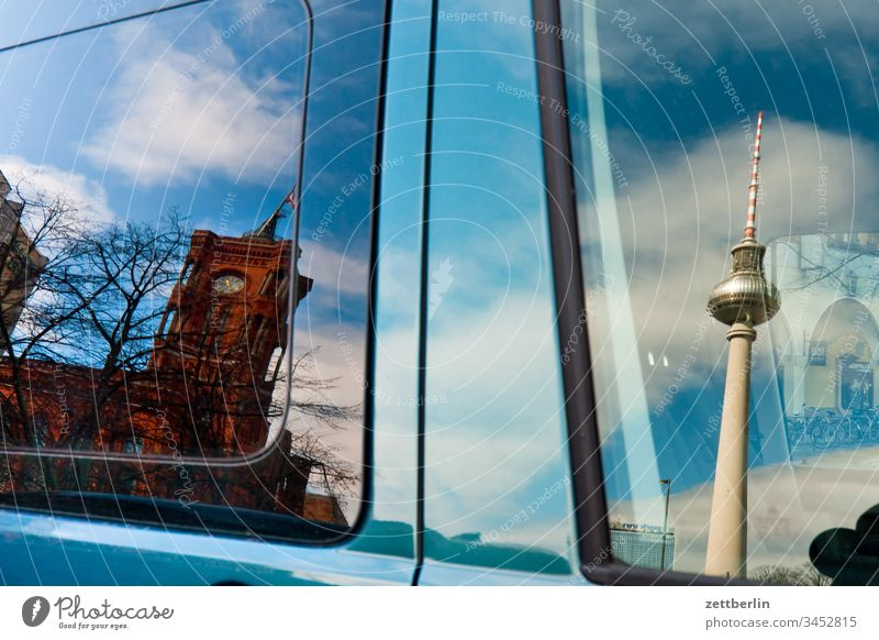 Television Tower and Red City Hall as a mirror image Architecture on the outside Berlin city spring Spring Capital city House (Residential Structure) downtown