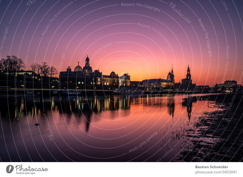 Skyline Dresden, Old Town, Saxony, Germany Picturesque atmospheric Colour photo River Elbe Illumination Emotions Vacation & Travel Europe Trip Evening