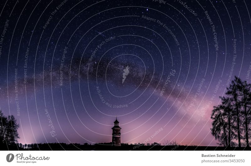 Milky Way in Moritzburg above the lighthouse, Saxony, Germany Sky Night sky Colour photo stars Observatory Infinity Milky way Constellation Meteor
