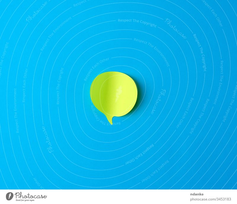 green empty paper sticker in the form of cloud on a blue background adhesive blank board bubble bulletin business chat communicate communication concept