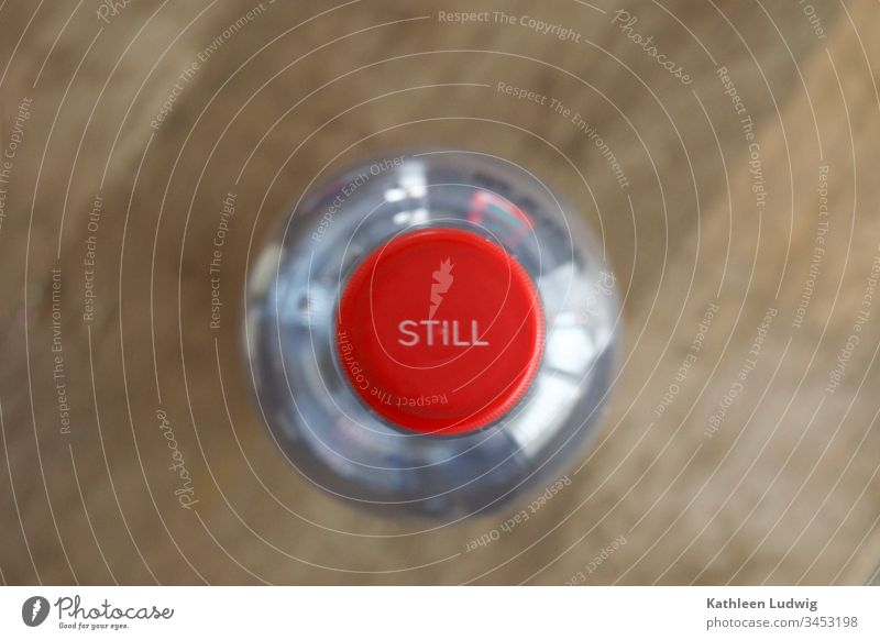Still silent tranquillity Red silence lockdown shutdown Bottle of water still water attentiveness Interior shot Close-up Calm Colour photo corona virus COVID