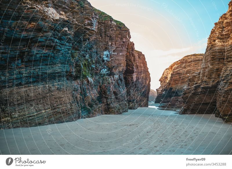 VIew from the sand on the Cathedrals Beach arch as catedrais atlantic beach beach of the cathedrals beach of the holy waters beautiful cantabric coast cliff