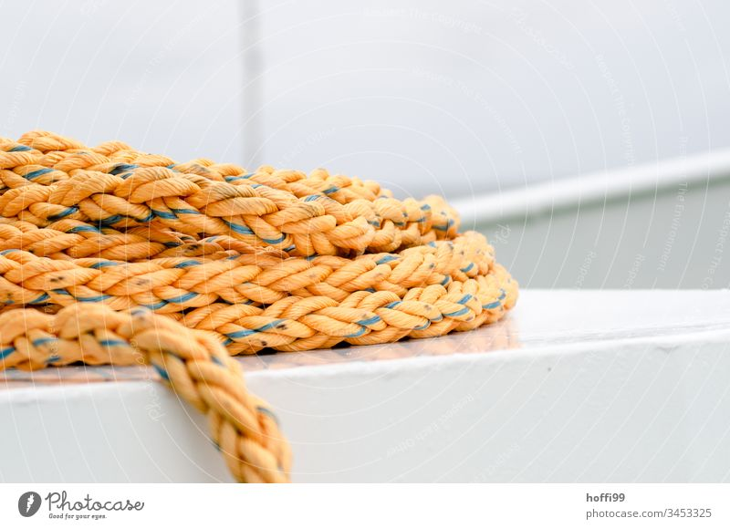 Rope on ferry Dew noose Ferry boat boat deck fix Maritime Navigation Water Close-up Fishing boat Harbour Watercraft Yacht harbour Round Bird's-eye view Jetty