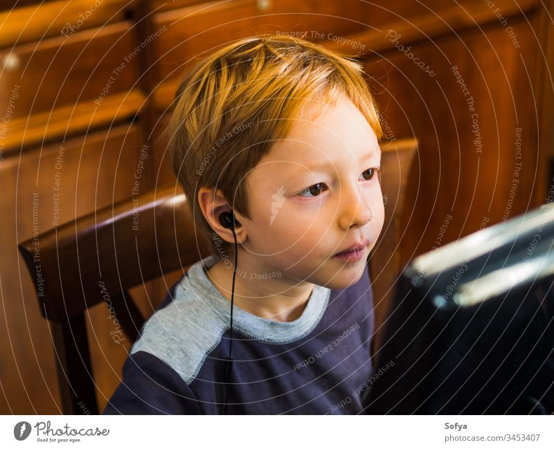 Cute little boy playing at pc concentrated computer child kid technology internet leisure male person young lifestyle music modern home caucasian game
