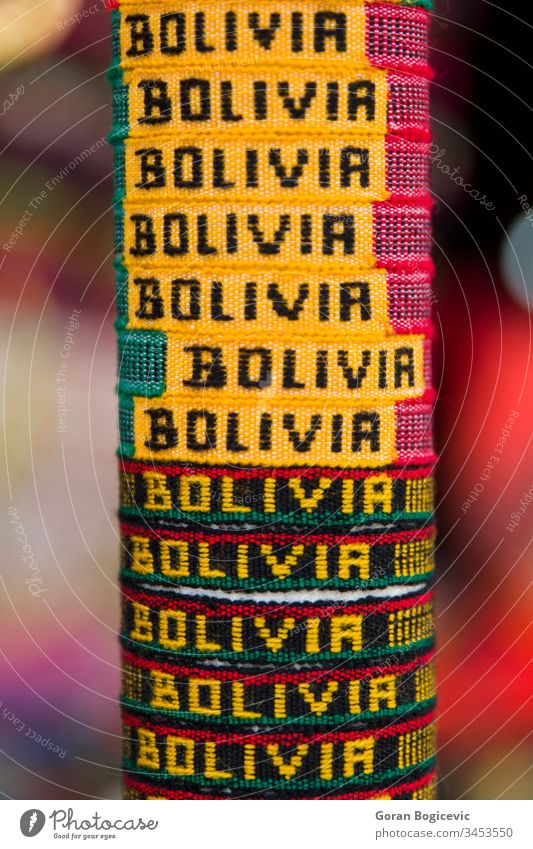 Colorful souvenirs on the market in Copacabana, Bolivia america american andean andes artisan authentic bolivia bolivian cloth color colorful copacabana craft