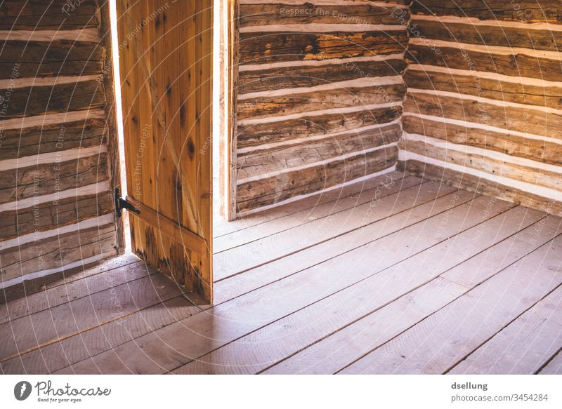 Simple wooden hut with open door Building Adventure Subdued colour Abandoned house forsake sb./sth. Interior shot Lonely Calm Room straightforwardness
