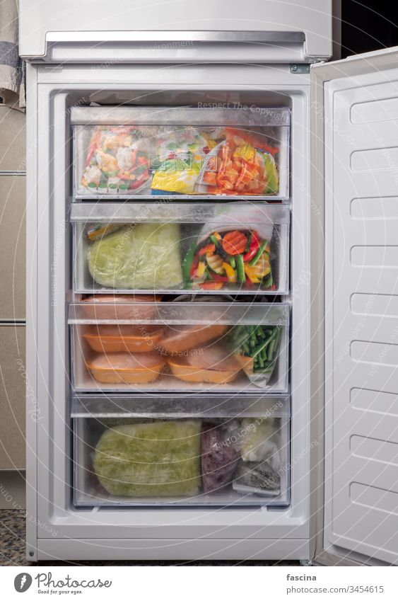 Open freezer with frozen meal Freezer Frozen Vegetable Meat grocery store Quarantine covid-19 Home quarantine assortment background Bag Cold Eating Food Icebox