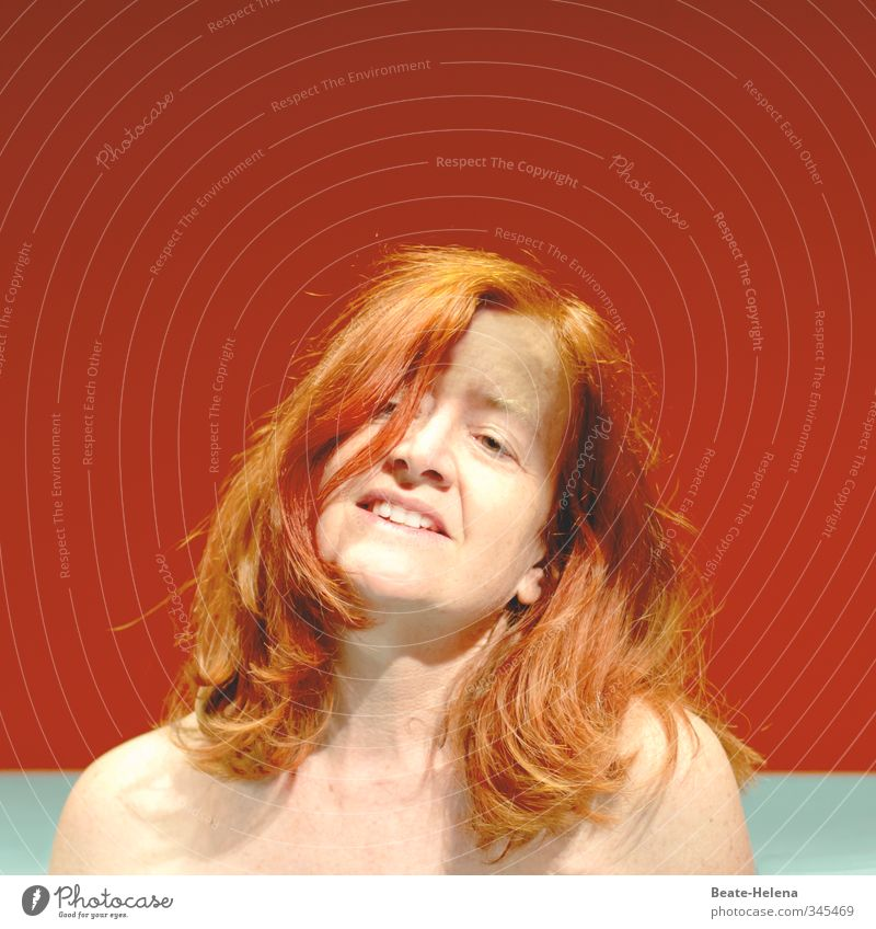 Enjoy holistically: Red-haired naked woman in front of a colored background Feasts & Celebrations Feminine Woman Adults Life Head Hair and hairstyles Face