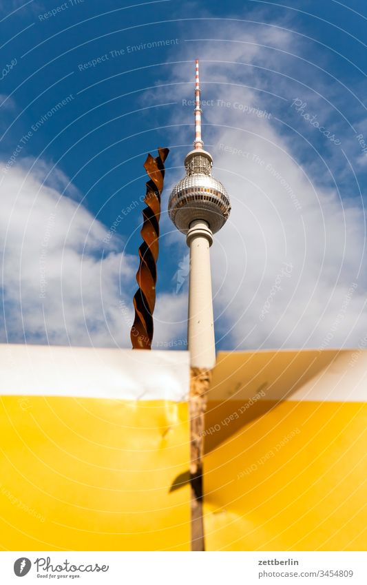 Television tower with drill alex Alexanderplatz Architecture on the outside Berlin city spring Spring Capital city House (Residential Structure) downtown
