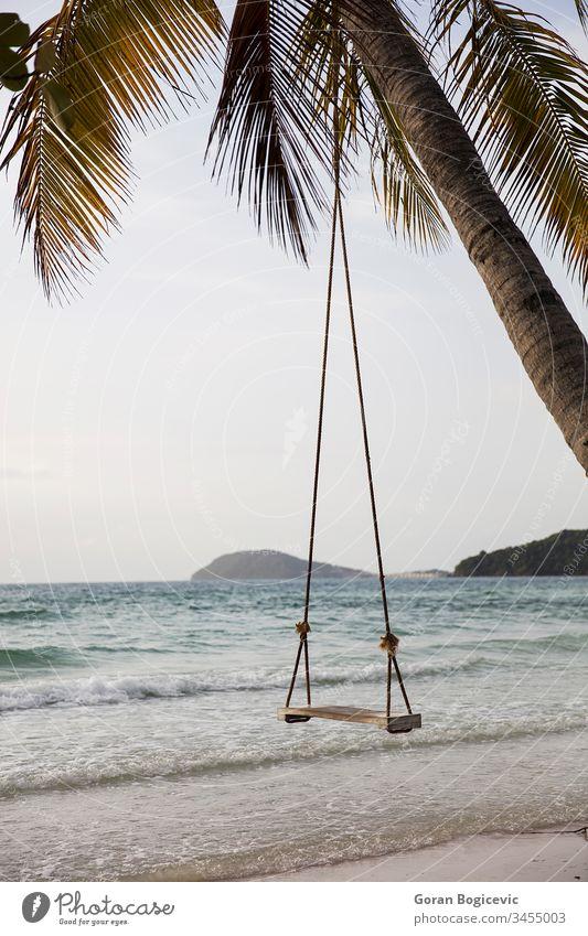 Swing on a tropical beach asia bay beautiful calm coast coastline island landscape nature outdoor outdoors palm paradise peaceful phu quoc sao scene sea