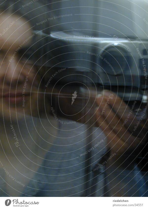 Woman Bathroom Camera Mirror Portrait photograph Slate blue
