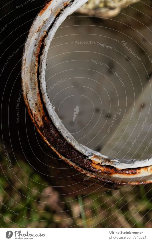 Nature Old White Grass Dye Metal Dirty Stand Circle Round Trash Expressionless Rust Edge Direct Tin