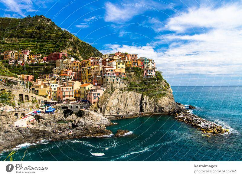 Manarola fishing village, Cinque Terre, Italy. cinque terre manarola italy sea colorful seascape picturesque outdoor rock ocean mediterranean landscape liguria