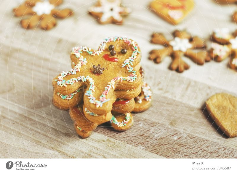 gingerbread men Food Dough Baked goods Candy Chocolate Nutrition Delicious Sweet Gingerbread Cookie Christmas biscuit little man Christmas decoration