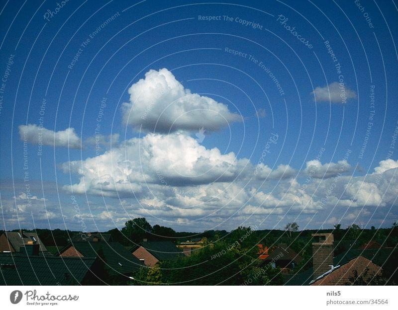 Towering clouds Clouds Cumulus House (Residential Structure) Plain Blue Sky Landscape Settlement