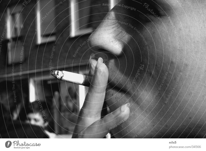 Smoking - why do I do it? Cigarette Think Black White Embers Portrait photograph Woman Fingernail Ashes Face Close-up Detail
